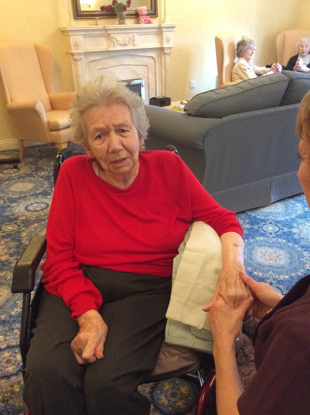 Jean enjoying her aromatherapy hand massage