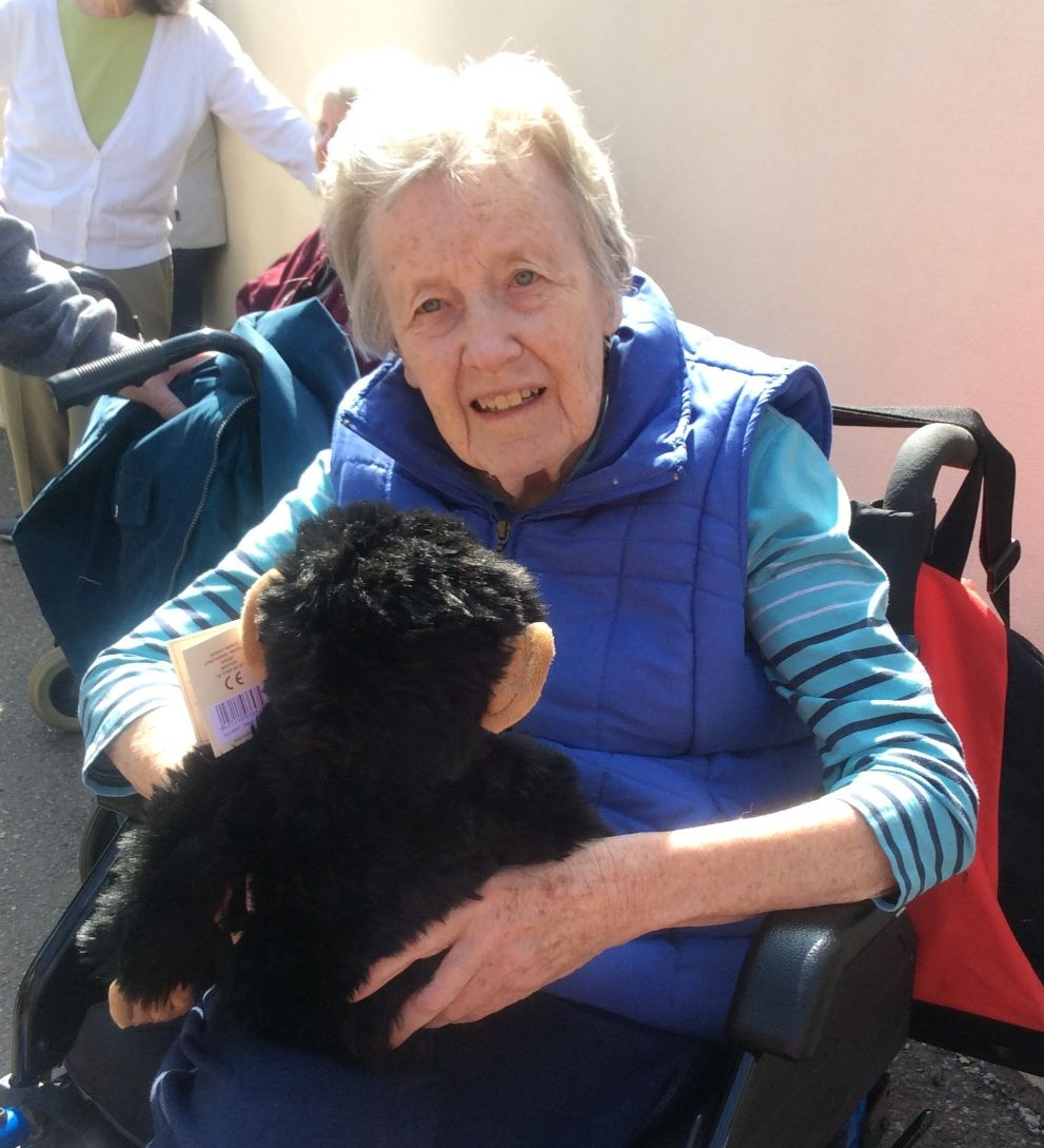 The Cedars Care Home, Salisbury-Resident Eve with her new monkey - she is still deciding on a name