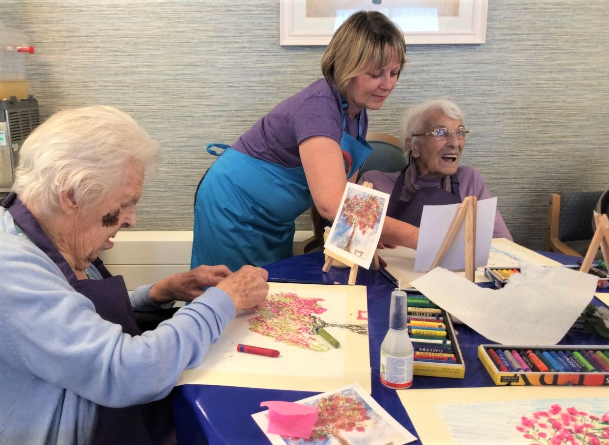 The Cedars Care Home Salisbury-Residents Molly and Madge getting expert tuition from Judy at Creative Minds