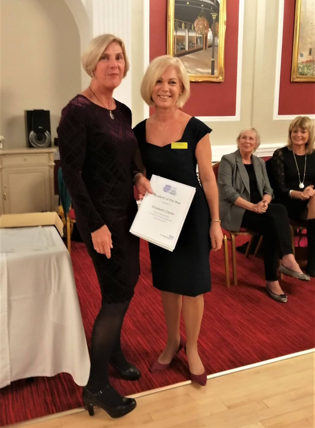 The Granby Care Home, Harrogate-Elizabeth Clarke receives her Student of the Year award from Fiona Adamson, brighterkind Business Development Manager