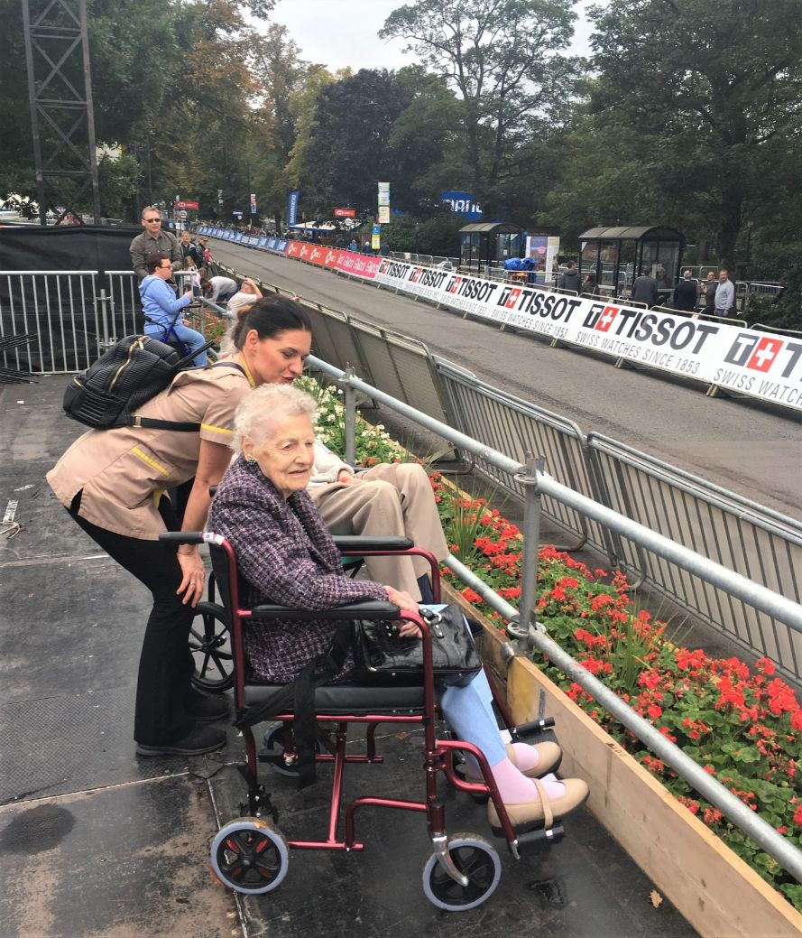 The Granby Care Home, Harrogate-Resident Trish and team member Anna ready to watch the World Cycling Championships in Harrogate