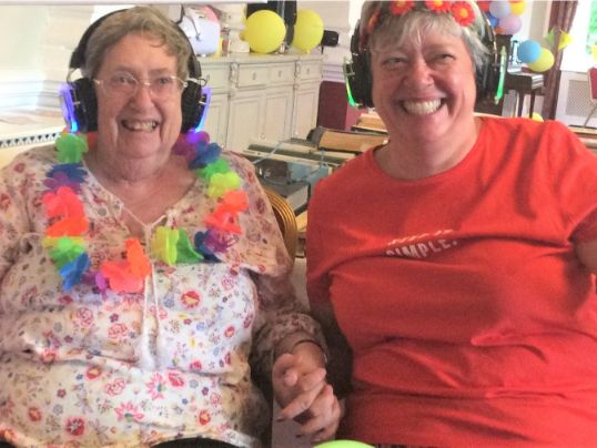The Granby Care Home, Harrogate-Resident Val and her daughter Caroline enjoying the disco