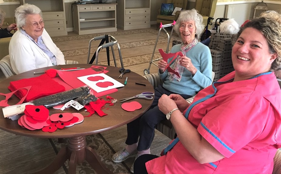 The Granby Care Home, Harrogate-Residents Pat and Pat and Magic Moments Club Assistant Susie busy creating poppies