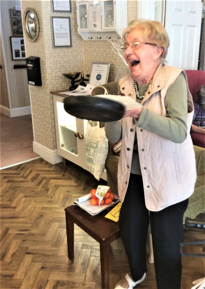 The Lawns Care Home, Leicestershire-Norah having great fun tossing her pancake