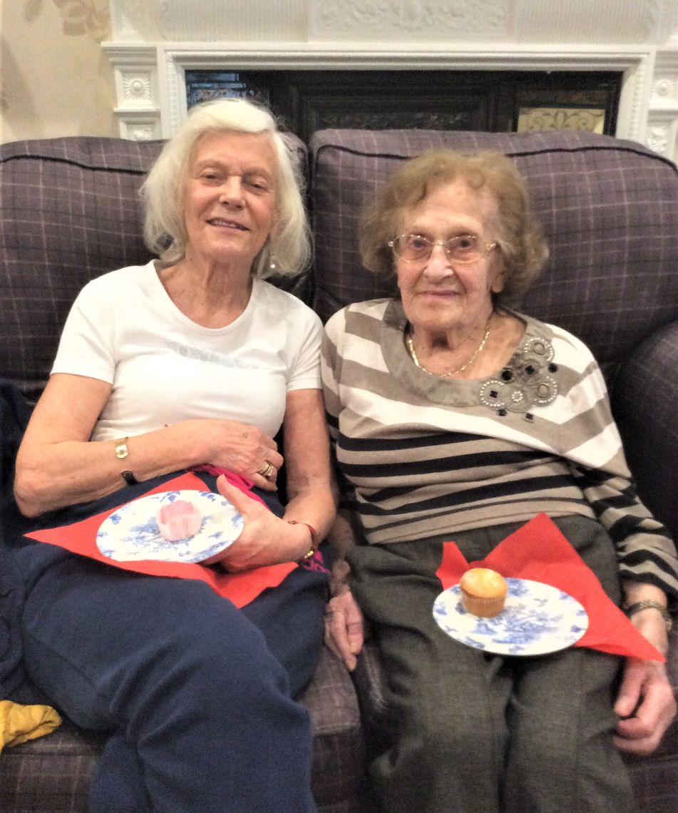 The Lawns Care Home, Leicestershire-Guest with Anne enjoying our coffee morning for Dementia UK