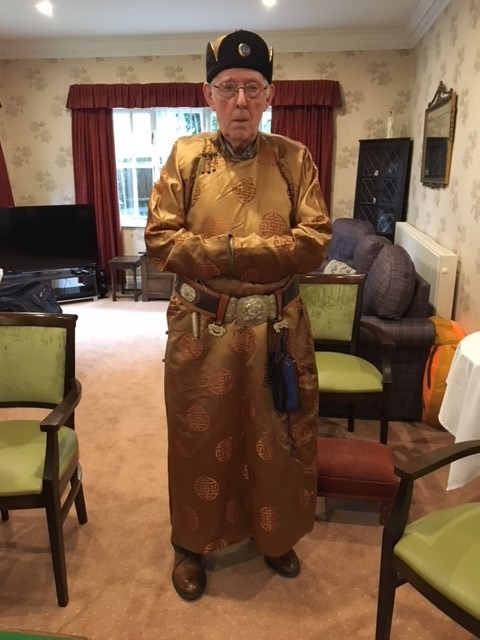 Our guest speaker Martin Heffernan in his traditional Mongolian costume