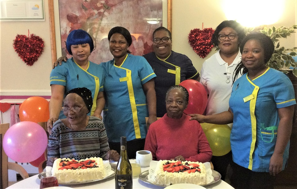 Uplands Care Home, London-Happy Birthday to our lovely residents Esther and Adijat pictured here with team members and a birthday cake each!