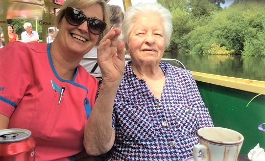 Vilma with activity coordinator Sarah enjoying the relaxing boat trip down the River Wye