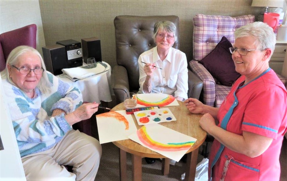 Westbury Court Care Home, Wiltshire-Angela and Julie with Suzanne