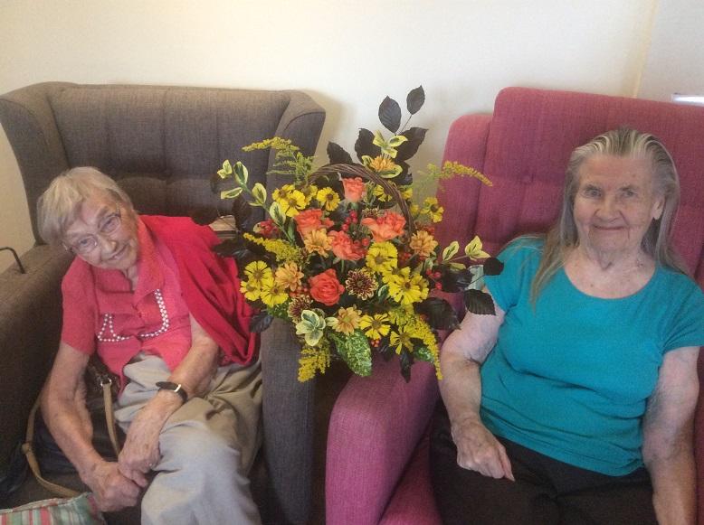 Residents Barbara Lane & Mary Rann enjoyed their floral afternoon
