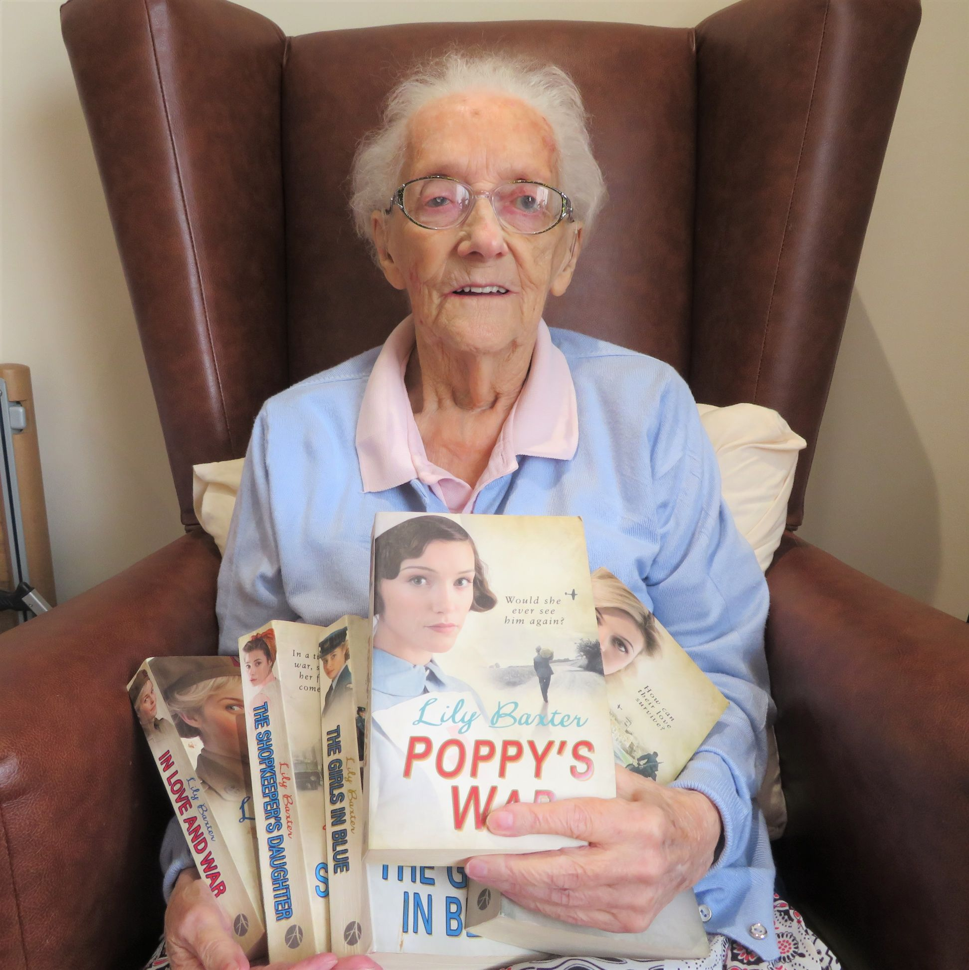 Westbury Court Care Home, Wiltshire-Resident Betty with her new books