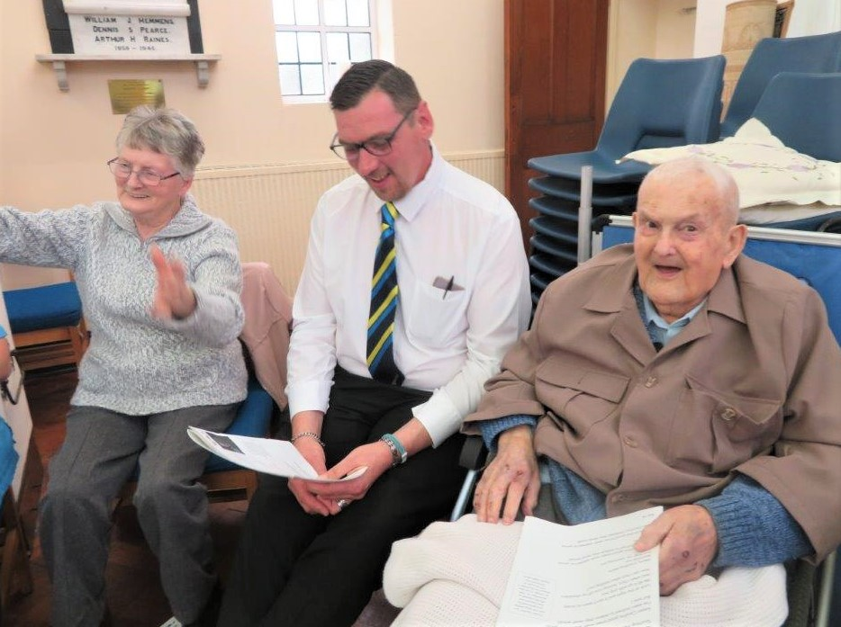 Westbury Court Care Home, Wiltshire-Resident Julie, team member Gareth and resident John enjoying our singalong at the Westbury Festival