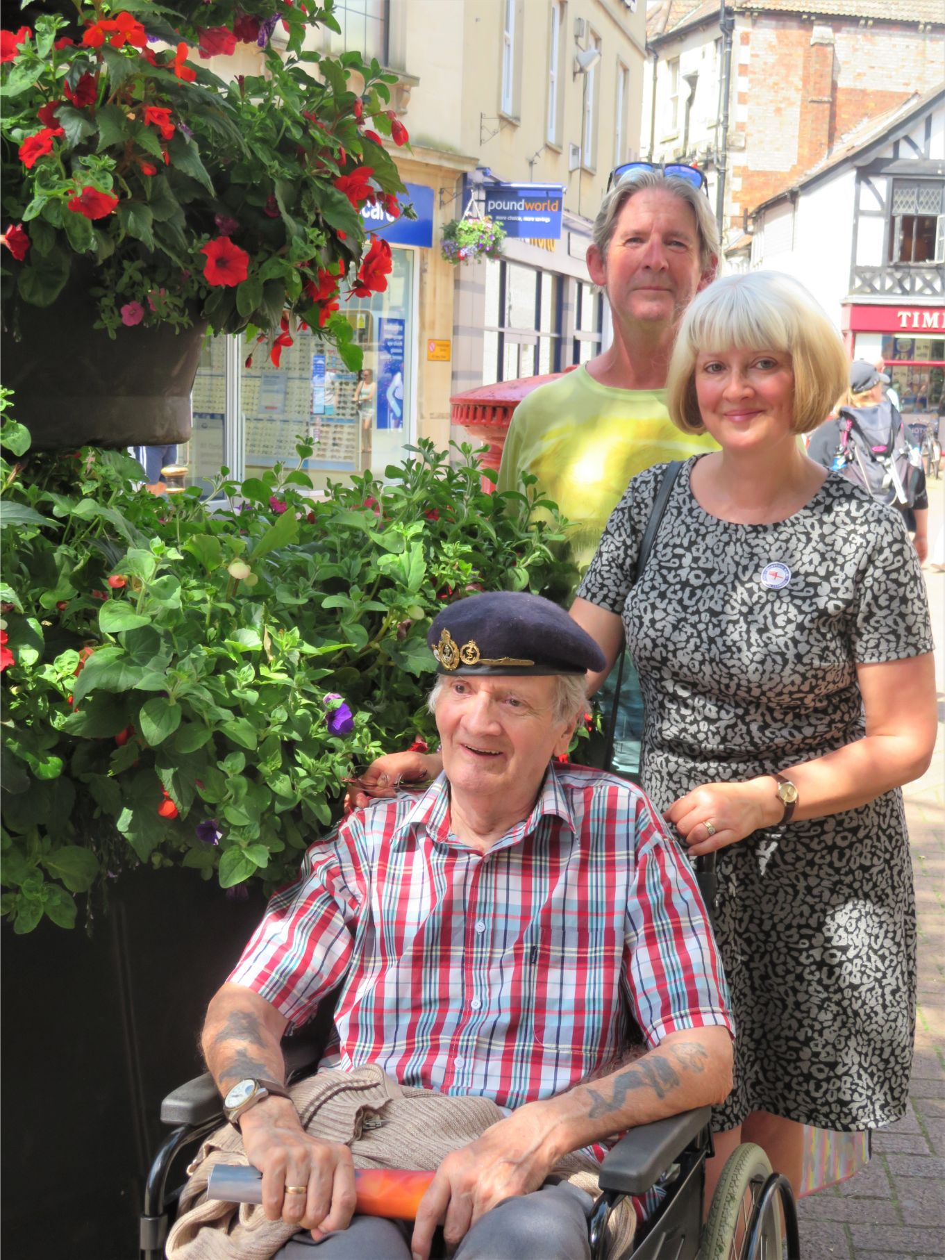 Westbury Court Care Home, Wiltshire-Tony with his daughter Julie and son-in-law Nick