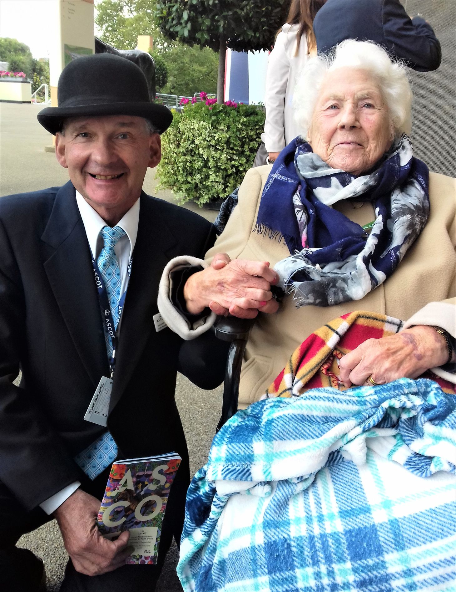 Woodbury House Care Home, Berkshire-Edith with Colin, a team member at Ascot