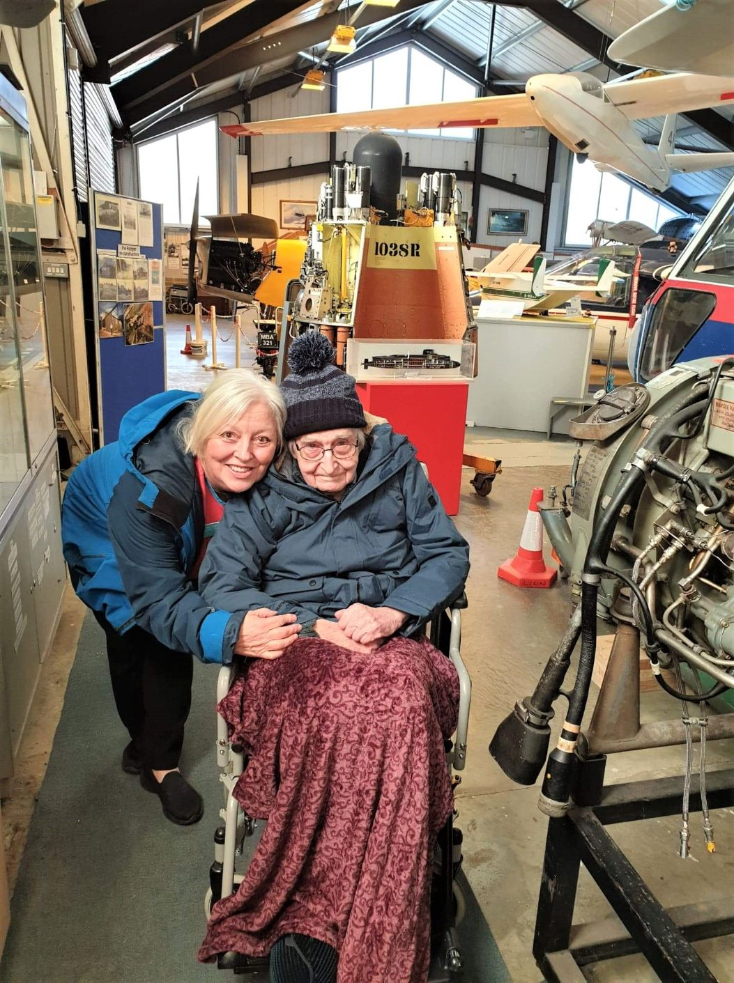 Woodbury House Care Home, Berkshire-Irene with John enjoying their trip to the aviation museum