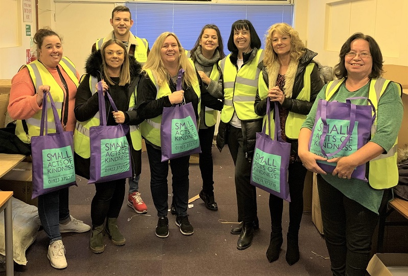 brighterkind Care Homes, Hertfordshire-The volunteers packed over 400 'Warm in Winter bags' for the charity Small Acts of Kindness