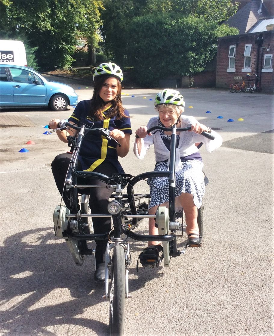 Residents at St Oswalds House in Warrington get back on their bikes