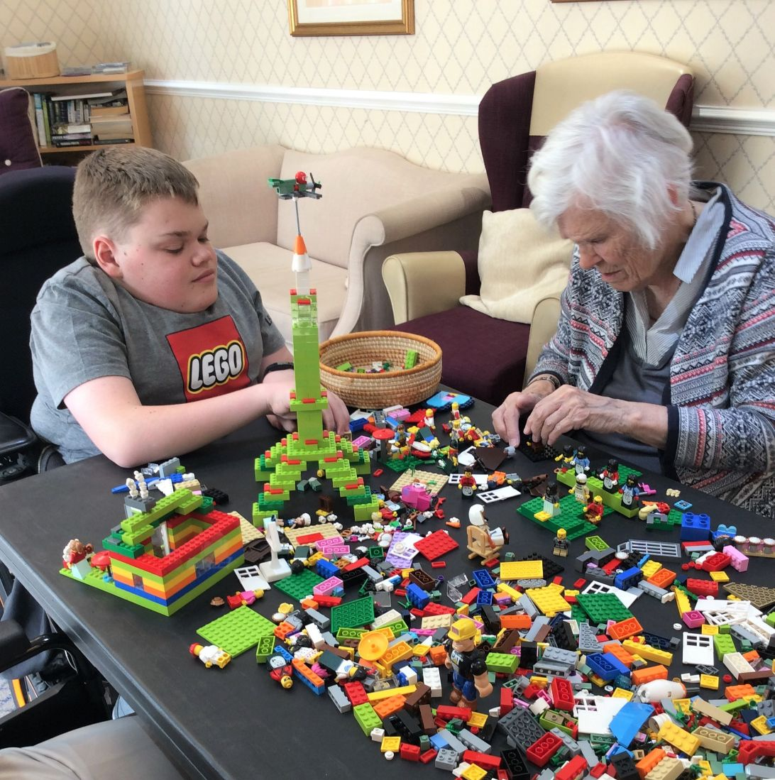 residents at Cookridge Court Care Home in Leeds take part in Lego club