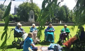 Residents have picnic in the park at The Cedars Care Home in Bourne