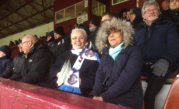 Resident, Lynn Walters, with care assistant, Gill Cameron, in the Stands