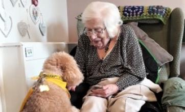 Ashbourne Court Care Home, Hampshire-Resident Lily gives Miss Milly a treat