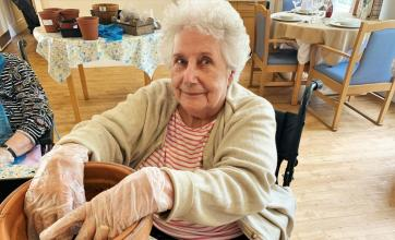 Residents at Flowerdown Care Home in Winchester take part in brighterkind's Naturewatch event