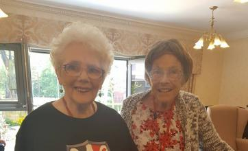 Residents  Jean and Carol proudly wearing The Black Country Shield