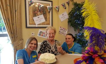 Ruth with Carers Claire and Lyndsey on her 90th Birthday