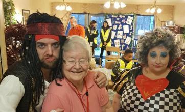 Activities Coordinator Matt, Resident Audrey and our Queen of Hearts Julie