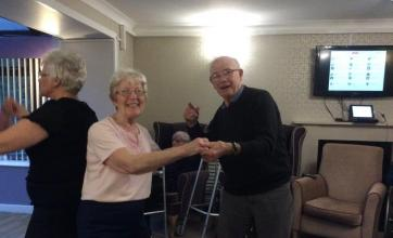 Residents Jessie Greenan and Alex Bremner jiving the evening away