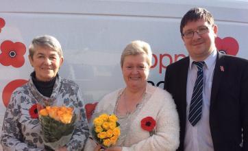 Care Assistant Frances McFadyen, Poppy Appeal Scotland's Stephen Shirres and Senior Carer Irene Monaghan