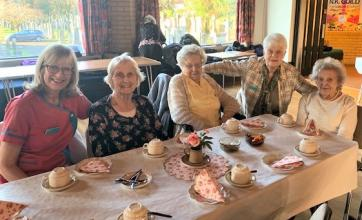 Buchanan Lodge Care Home, Glasgow-Team member Allison, residents Isobel and Margaret, Activities Volunteer Flora and resident Betty enjoying afternoon tea at New Kilpatrick Church
