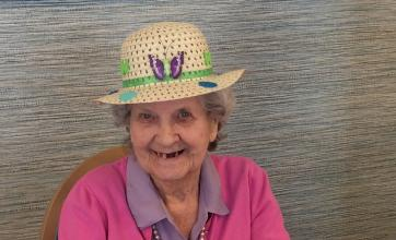 The Cedars Care Home, Salisbury -Beryl models her Easter bonnet for us