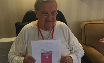 Peter with his first edition of the newsletter