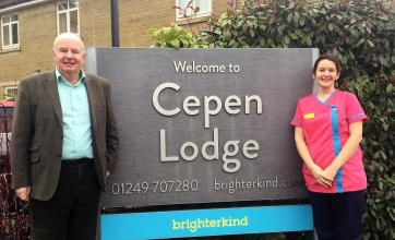 Vaughan Mizon, the Chairman of Chippenham Hospital League of Friends with Cepen Lodge Care Home's Magic Moments Club Coordinator Ali Dyer