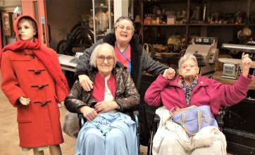 Residents Ann and Flo with Magic Moments Coordinator Dot at Wellingborough Museum