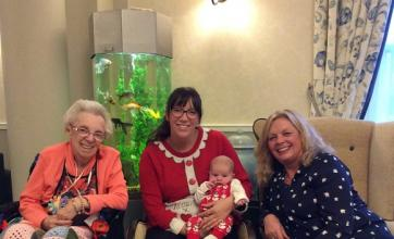 Four generations attend the Christmas Fayre