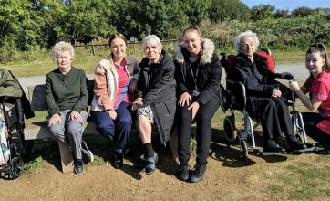 Elm Bank Care Home, Northamptonshire-Residents Jessie & Elizabeth, team member Cassie, resident Valerie, team member Katie, resident Elsie and team member Chloe at Stanwick Lakes