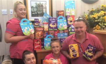 Elmbank Care Home, Kettering-Magic Moments Club team members Nicole, Chloe, Cassie and Mark with just some of the Easter Eggs donated for Kettering Hospital Children's Ward