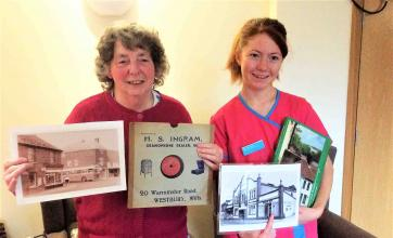 Westbury Court Care Home take a trip down memory lane with Westbury Heritage Centre - Lily Munday with Magic Moments Volunteer Kim Western