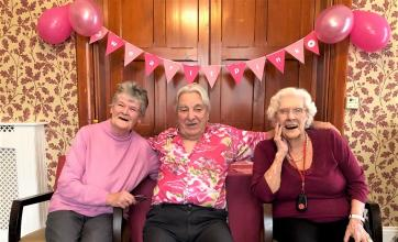 Glebefields Care Home, Banbury-In the pink! Residents Kathy, Bert and Vera having fun at our fundraising afternoon tea