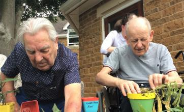 Glebefields Care Home, Banbury-Residents Bert and Alvar enjoying time outdoors gardening