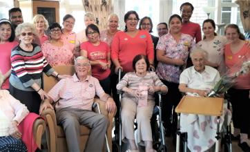 Highfield Care Home, Hertfordshire-In the pink! Residents, team members and guests at our fundraising coffee morning for 'Breast Cancer Now'