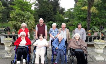 Highfield Care Home, Hertfordshire-Residents Jean, Vera, Rita and Vi with family members and our Oomph minibus driver Patrick at Myddleton Gardens