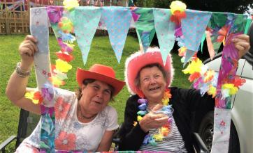 Highfields Care Home, Newark-Elaine with her mum, resident Betty getting into the festival spirit