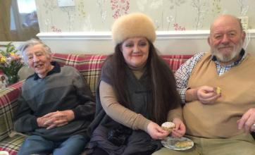 Resident Bernard with his daughter Sharon and son in law Andy