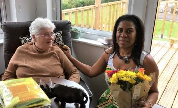 Houndswood House Care Home, Radlett -Resident Lesley with our guest Dee