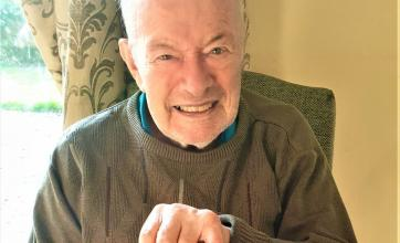 Hungerford Care Home, Berkshire-Alan with his homemade Valentine's Day card for his wife