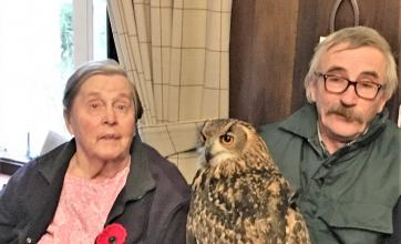 Resident Joan Ball, Norman the owl and Wings of Freedom founder Colin Sutherland