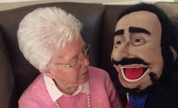 Angusfield House Care Home, Aberdeen. Resident Jean with Pavarotti the puppet